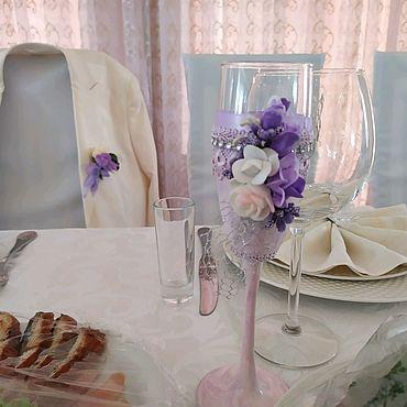 Свадебный салон ручной работы. Ярмарка Мастеров - ручная работа Бокалы Мраморная роза. Handmade.