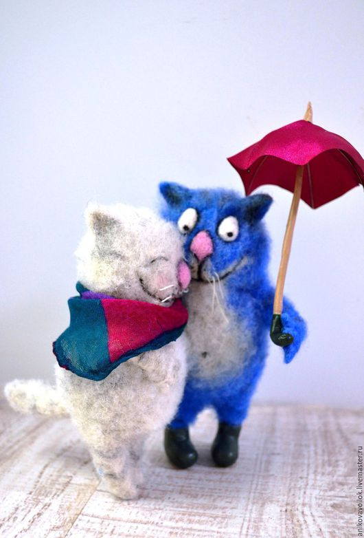 Игрушки животные, ручной работы. Ярмарка Мастеров - ручная работа. Купить Синие коты. Handmade. Тёмно-синий, валяная игрушка