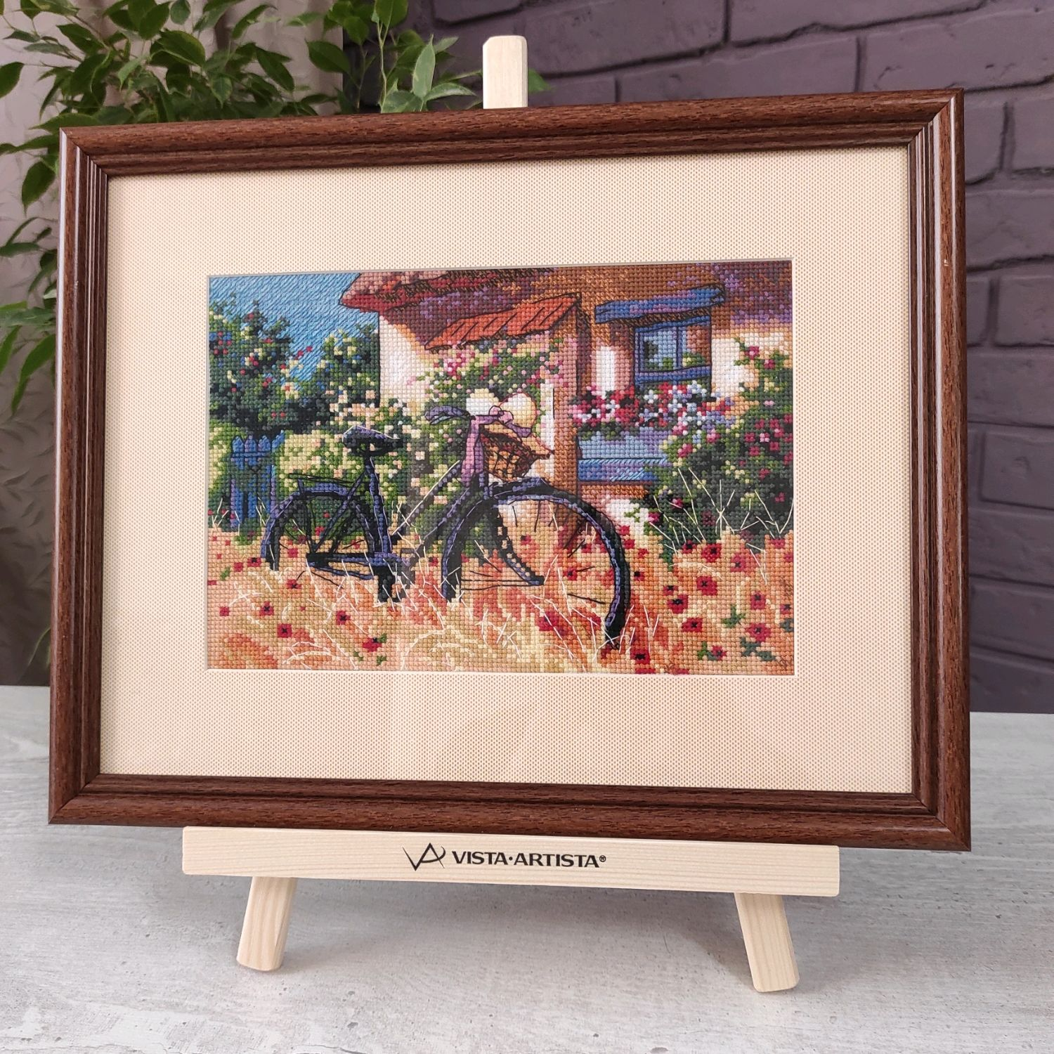 Painting cross stitch Rustic landscape Bicycle Provence, Pictures, Chelyabinsk,  Фото №1