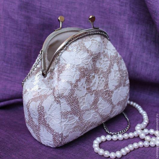 Сумочка-клатч с фермуаром Нежность - сумочка невесты, на свадьбу. Нежная сумочка с фермуаром из кружевной ткани с кремовыми пайетками. Такая сумочка дополнит наряд невесты или подружки невесты