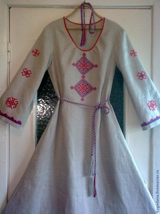Одежда ручной работы. Ярмарка Мастеров - ручная работа. Купить Платье женское льняное с ручной вышивкой. Handmade. Платье в пол