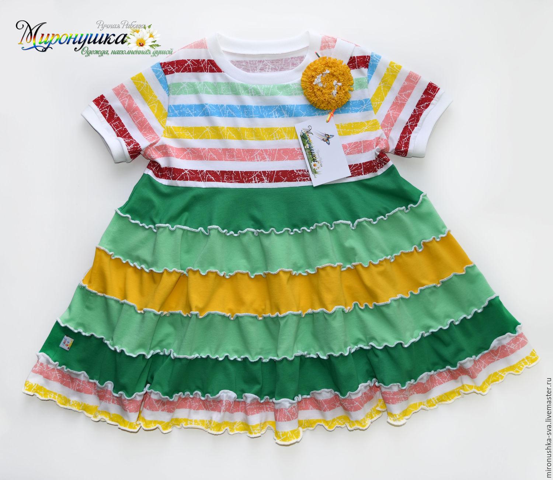"""Одежда для девочек, ручной работы. Ярмарка Мастеров - ручная работа. Купить Платье """"Летний одуванчик"""". Handmade. Зеленый цвет, в полоску"""