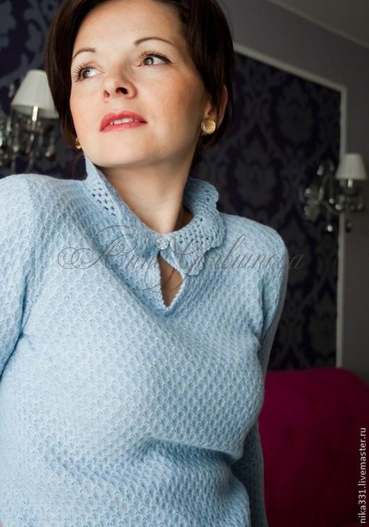 """Кофты и свитера ручной работы. Ярмарка Мастеров - ручная работа. Купить Кофточка """"Соты"""". Handmade. Голубой, ажурный воротник, меринос"""