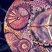 """Часы классические ручной работы. Ярмарка Мастеров - ручная работа керамические часы """" Фиолетовый стимпанк"""". Handmade."""