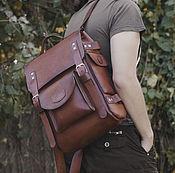 handmade. Livemaster - original item Leather urban backpack