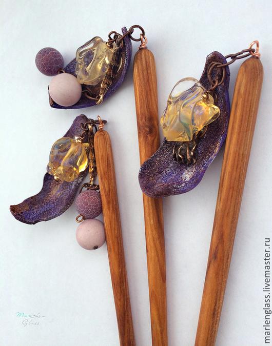Заколки ручной работы. Ярмарка Мастеров - ручная работа. Купить Заколка для волос Канзаши -  Фиолетовая дымка. Handmade. Сиреневый, дымка