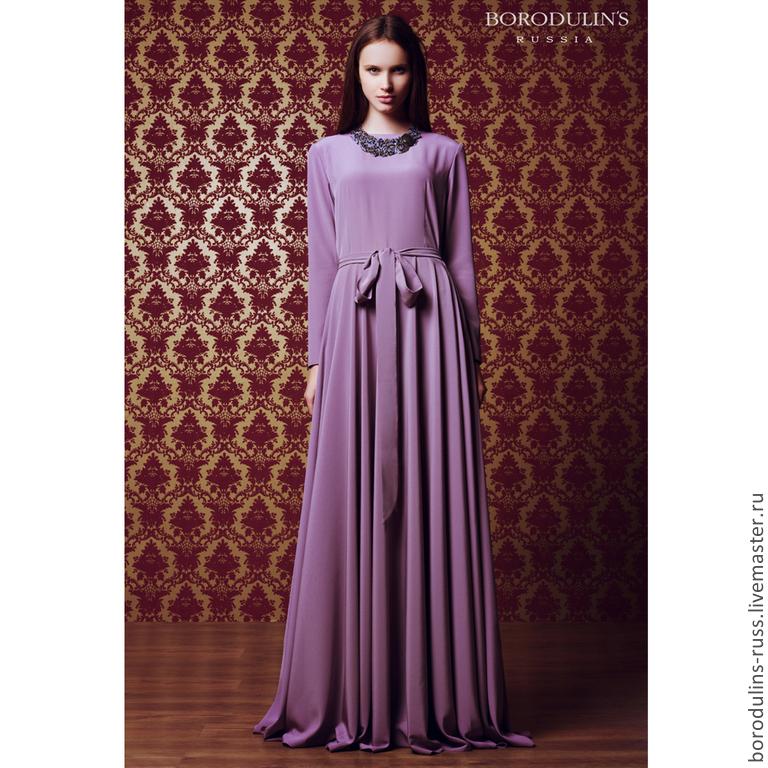Шелковое платье в пол фото