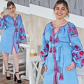 Одежда handmade. Livemaster - original item Embroidered linen mini dress long sleeve Blue dress linen. Handmade.