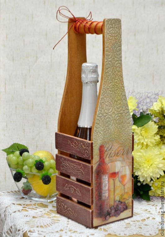 Корзины, коробы ручной работы. Ярмарка Мастеров - ручная работа. Купить Корзина-бутылочница In vino veritas. Handmade. Бордовый