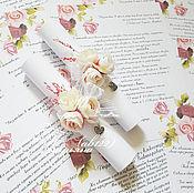 Свадебный салон ручной работы. Ярмарка Мастеров - ручная работа Приглашение-свиток нежные цветы. Handmade.