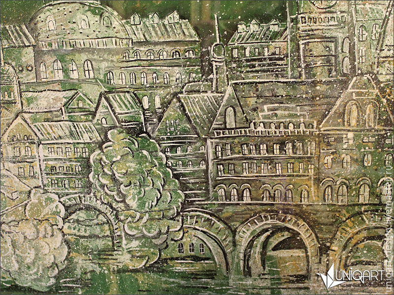 Картина. Городской пейзаж. Цвет хаки, , Москва, Фото №1