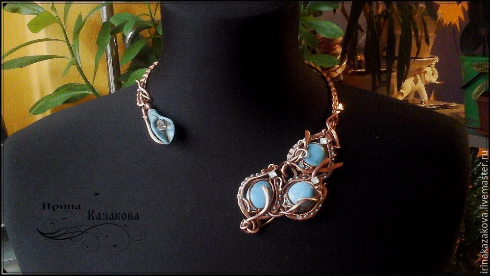 Necklace Copper Wire Wrap turquoise, Necklace, Megion,  Фото №1