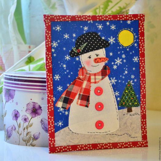"""Детская ручной работы. Ярмарка Мастеров - ручная работа. Купить Панно в текстильной рамке """"Снеговик"""". Handmade. Снеговик, аппликация снеговик"""