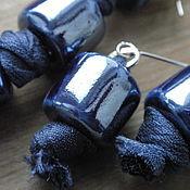 Украшения ручной работы. Ярмарка Мастеров - ручная работа Колье-чокер и серьги  Синее на синем. Handmade.