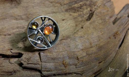 """Кольца ручной работы. Ярмарка Мастеров - ручная работа. Купить """"Trias"""" серебряный перстень с турмалинами. Handmade. Серебряный, турмалин"""