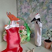 Кукольный театр ручной работы. Ярмарка Мастеров - ручная работа Кукольный театр: Перчаточные игрушки Лиса и Журавль. Handmade.