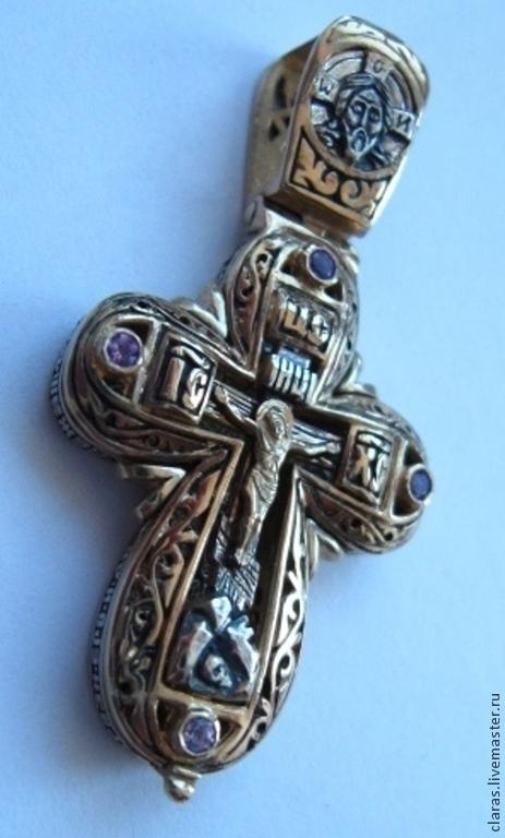 Кулоны, подвески ручной работы. Ярмарка Мастеров - ручная работа. Купить Крест мощевик серебро аметисты. Handmade. Сиреневый