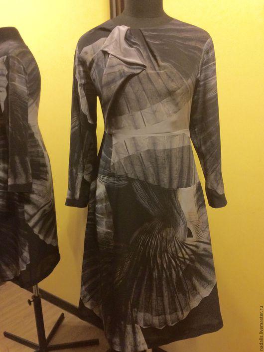 """Платья ручной работы. Ярмарка Мастеров - ручная работа. Купить Платье шёлковое """"Веера"""" ЭКО. Handmade. Чёрно-белый"""