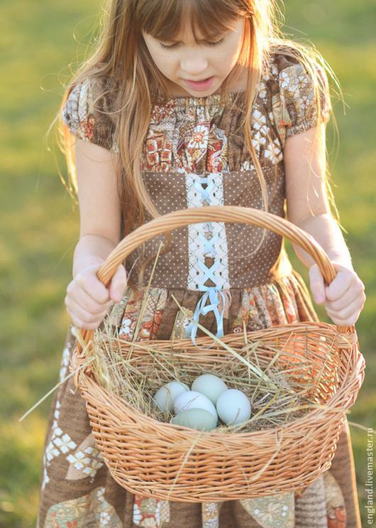Одежда для девочек, ручной работы. Ярмарка Мастеров - ручная работа. Купить Платье для девочки барышня короткий рукав коричневый голубой хлопок. Handmade.