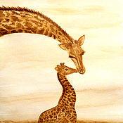 """Картины и панно ручной работы. Ярмарка Мастеров - ручная работа Кофейный рисунок """"Жирафы"""". Handmade."""