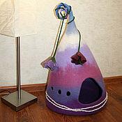 Для домашних животных, ручной работы. Ярмарка Мастеров - ручная работа Валяный домик для кошки Сиреневый треугольник. Handmade.