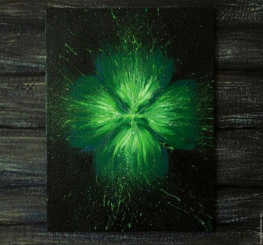 """Картины цветов ручной работы. Ярмарка Мастеров - ручная работа. Купить Картина акрилом """"Удача"""", 18х24. Handmade. Ярко-зелёный"""