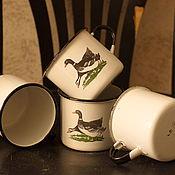 Винтаж handmade. Livemaster - original item Canadian goose!? ) Enamel mugs, 8 piece.. Handmade.