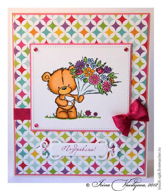 Детские открытки ручной работы. Ярмарка Мастеров - ручная работа. Купить открытка с медвежонком Milton. Handmade. Открытка ручной работы