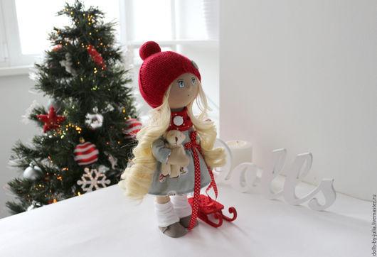 Коллекционные куклы ручной работы. Ярмарка Мастеров - ручная работа. Купить Новогодняя. Handmade. Ярко-красный, кукла на заказ, холофайбер