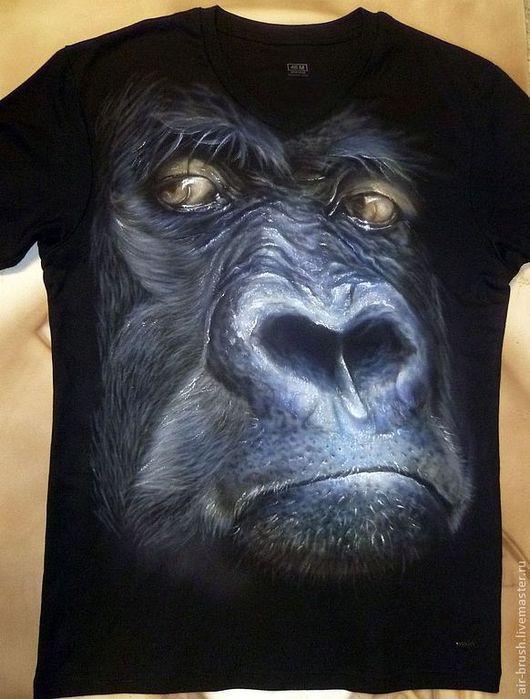 """Для мужчин, ручной работы. Ярмарка Мастеров - ручная работа. Купить Футболка с рисунком """"Предок по Дарвину"""". Handmade. Черный, обезьяна"""