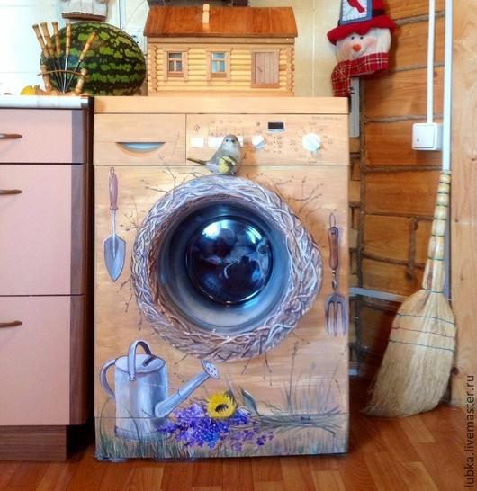 Декор поверхностей ручной работы. Ярмарка Мастеров - ручная работа. Купить Роспись стиральной машинки. Handmade. Роспись стиральной