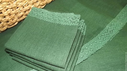 Скатерть Зелёный лён с салфетками (кружево). Ярмарка Мастеров-ручная работа. Handmade.