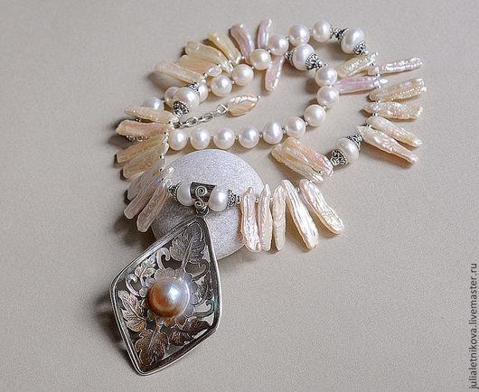 """Колье, бусы ручной работы. Ярмарка Мастеров - ручная работа. Купить Колье """"ФИЛИГРАНЬ"""" жемчуг, перламутр, серебро 925, ожерелье. Handmade."""