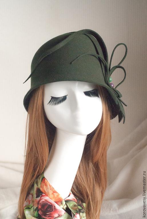 """Шляпы ручной работы. Ярмарка Мастеров - ручная работа. Купить Клош """"Звуки осени"""". Handmade. Хаки, женская шляпа"""