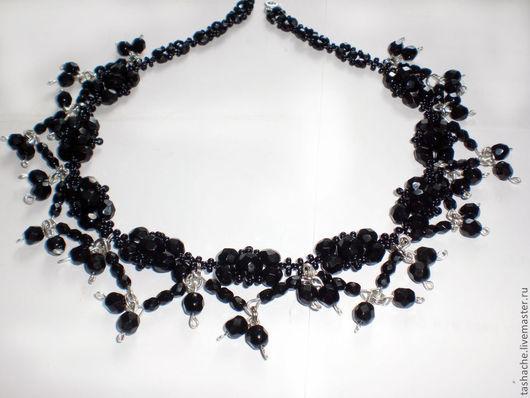 Колье, бусы ручной работы. Ярмарка Мастеров - ручная работа. Купить Черное ожерелье. Handmade. Черный, чешское стекло