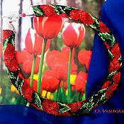 """Украшения ручной работы. Ярмарка Мастеров - ручная работа """"Красные тюльпаны.Весеннее буйство красок"""". Handmade."""