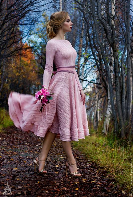 """Платья ручной работы. Ярмарка Мастеров - ручная работа. Купить Платье """"Лиля. Цвет - розовая пудра"""" !Пояс в подарок!. Handmade."""