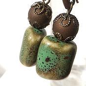 Украшения handmade. Livemaster - original item Green ceramic earrings, brown agate. Handmade.