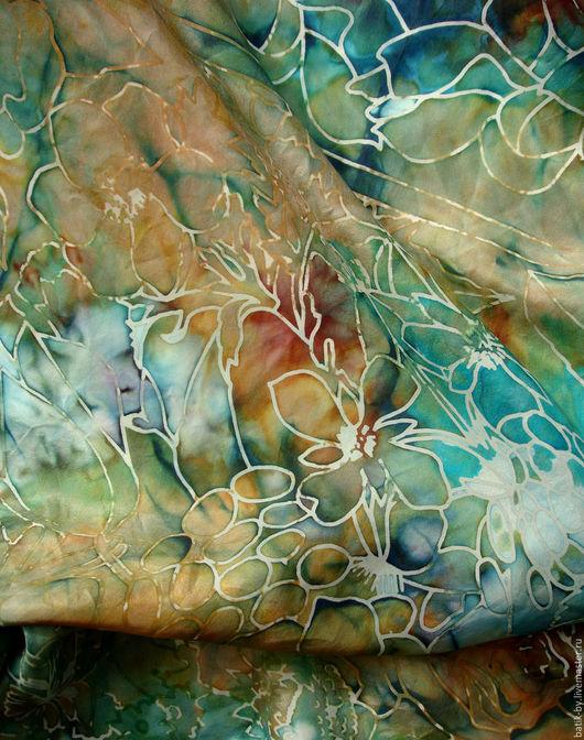 """Шали, палантины ручной работы. Ярмарка Мастеров - ручная работа. Купить """"Рыжая медь и бирюза"""" большой платок натуральный шелк ручная роспись. Handmade."""