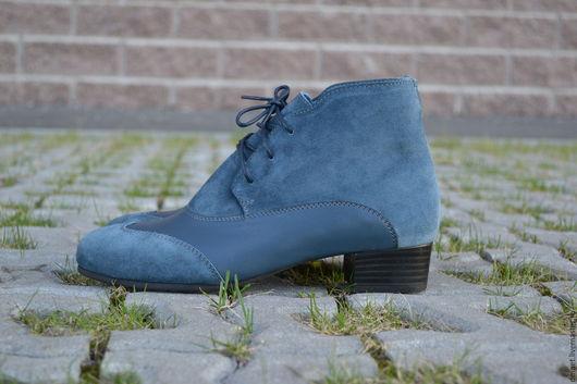 Обувь ручной работы. Ярмарка Мастеров - ручная работа. Купить Ботиночки комбинированные на каблучке. Handmade. Синий, удобная обувь