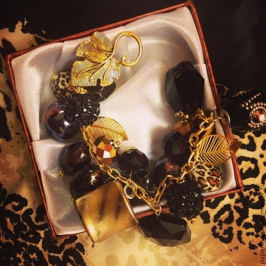 Браслеты ручной работы. Ярмарка Мастеров - ручная работа. Купить Браслет дизайнерский. Итальянская ночь. Handmade. Черный, золотой, браслет