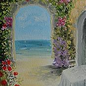 """Картины и панно ручной работы. Ярмарка Мастеров - ручная работа Картина """"Кафе у моря"""". Handmade."""