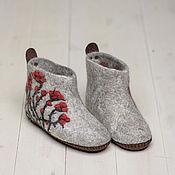 """Обувь ручной работы. Ярмарка Мастеров - ручная работа Валяные чуни """"Клюквы"""". Handmade."""