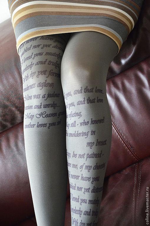 """Носки, Чулки ручной работы. Ярмарка Мастеров - ручная работа. Купить """"Я вас любил..""""Пушкин.Колготки с принтом. Handmade."""