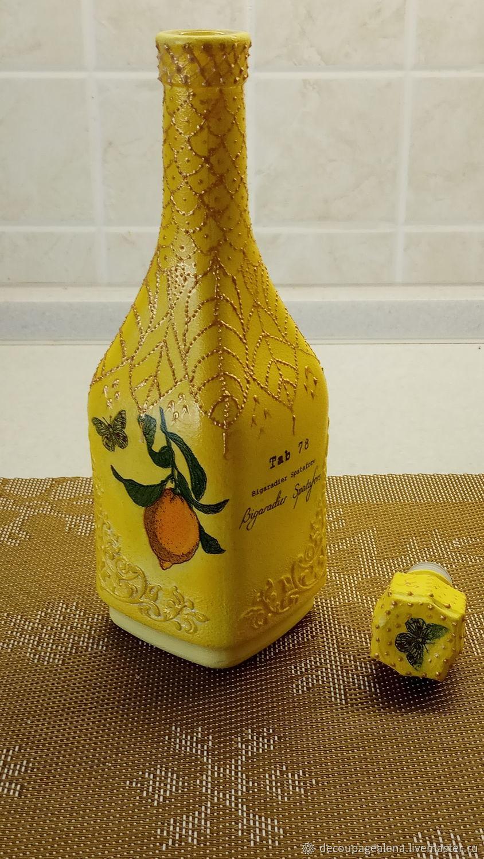 Декоративная посуда ручной работы. Ярмарка Мастеров - ручная работа. Купить Графин 'Яркий лимон'. Handmade. Декупаж, желтый