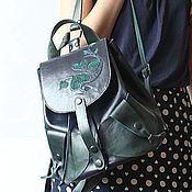 Сумки и аксессуары ручной работы. Ярмарка Мастеров - ручная работа Рюкзак кожаный темно-синий с изумрудно-зеленым. Handmade.