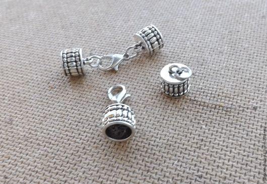 Для украшений ручной работы. Ярмарка Мастеров - ручная работа. Купить Концевики + замок для шнура. Handmade. Серебряный, замок
