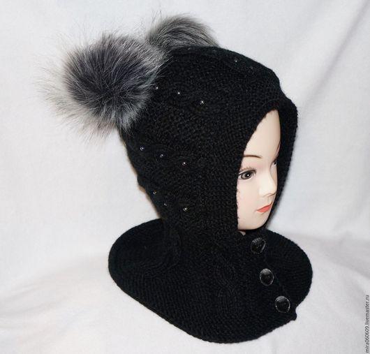 Шапки ручной работы. Ярмарка Мастеров - ручная работа. Купить Зимняя вязаная шапка-шлем для  девочки спицами. Handmade. Черный