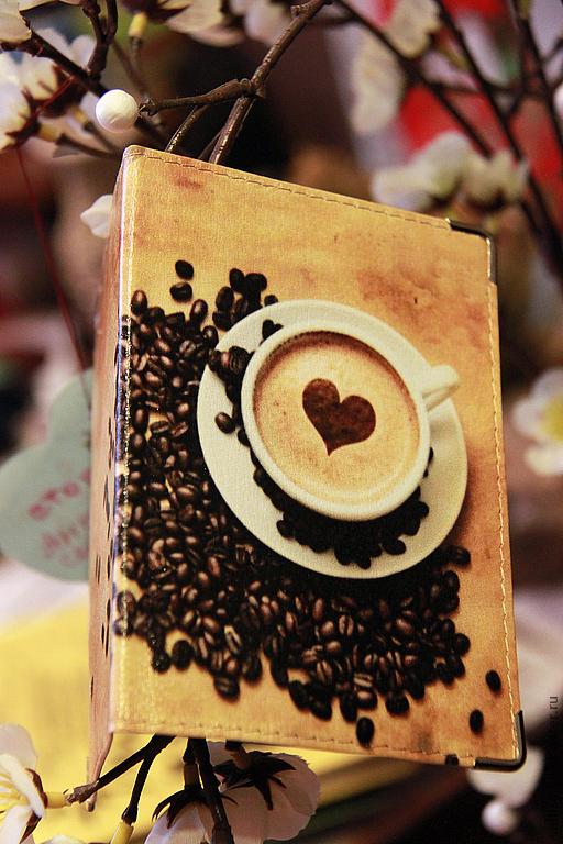 """Обложки ручной работы. Ярмарка Мастеров - ручная работа. Купить обложка """"Кофейный аромат"""". Handmade. Натуральная кожа, обложка для паспорта"""