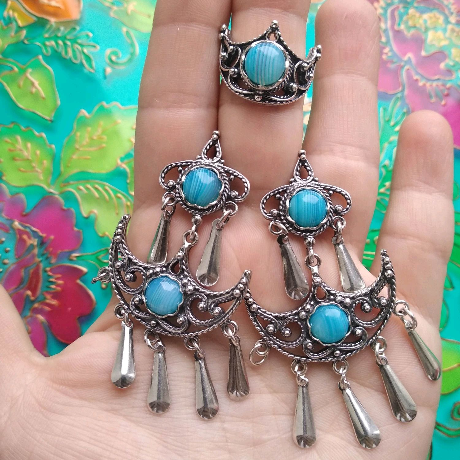 @ Set of silver-plated earrings and ring with agates, chrysoprase, Jewelry Sets, Ivanovo,  Фото №1